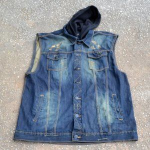 i-LINK Vest Jacket Men's Distressed Denim Size 4XL